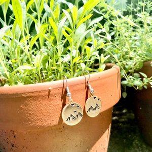 Hand stamped brass mountain earrings